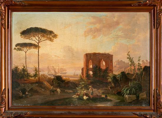 María Isabel de Borbón Madrid 1789 - Portici 1848 Paisaje con ruinas Óleo sobre lienzo