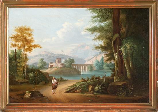 Escuela italiana del primer tercio del siglo XIX Paisaje Óleo sobre lienzo