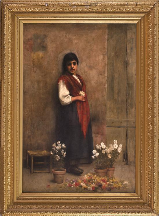 Escuela andaluza del siglo XIX Joven con flores Óleo sobre lienzo