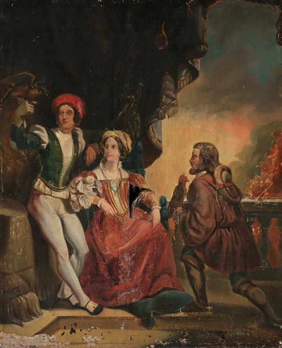 Escuela probablemente francesa, de mediados del siglo XIX Halconeros junto a una dama Óleo sobre lienzo
