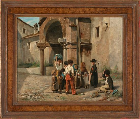Italian School, Possibly Neapolitan, Late 19th Century  Scene featuring Children