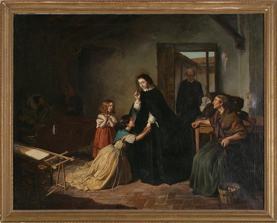 Attributed to Valeriano Domínguez Bécquer Sevilla 1833 - Madrid 1870 Lady visiting a Humble Family