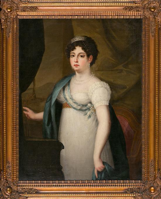 Escuela española de la primera mitad del siglo XIX Retrato de María Isabel de Braganza, reina de España Óleo sobre lienzo