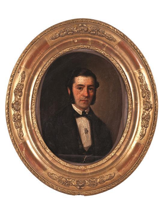 Dionisio Fierros Álvarez La Ballota 1827 - Madrid 1894 Retrato masculino Óleo sobre lienzo