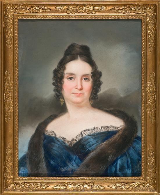 Pelegrí Clavé Barcelona 1811 - 1880 Retrato femenino Pastel sobre papel