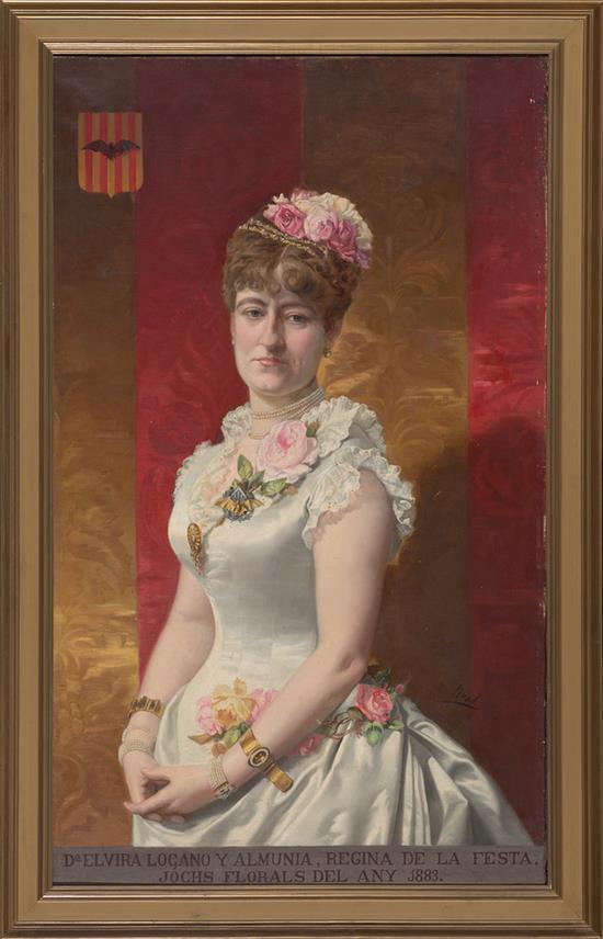 José Brel Valencia 1841 - 1894 Retrato de Elvira Lozano Óleo sobre lienzo