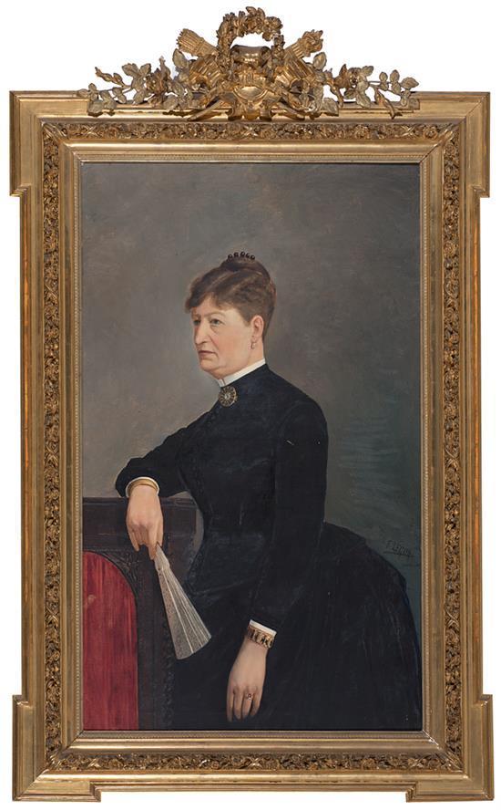 Francisco Legua Cieza 1870 - Valencia 1926 Retrato femenino Óleo sobre lienzo