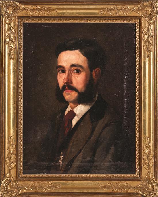 Atribuido a Francesc Masriera i Manovens Barcelona 1842 -1902 Retrato de un joven Óleo sobre lienzo