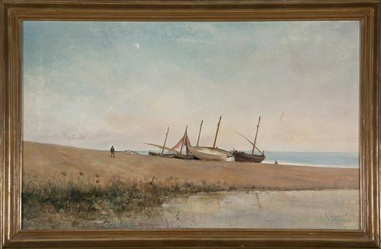 Francesc Torrescassana Barcelona 1845 - 1918 Beach with Boats