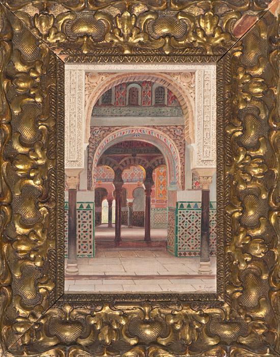 Atribuido a Fernando Liger Hidalgo Sevilla 1880 - 1945 Interior del Alcázar de Sevilla Óleo sobre lienzo