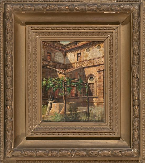 Escuela española del siglo XIX Vista de un claustro Óleo sobre tabla