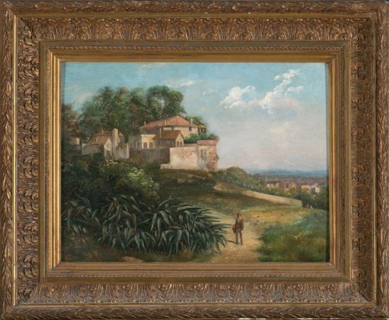 Ricardo Martí Aguiló Barcelona 1868 - 1936 Vista rural Óleo sobre tabla