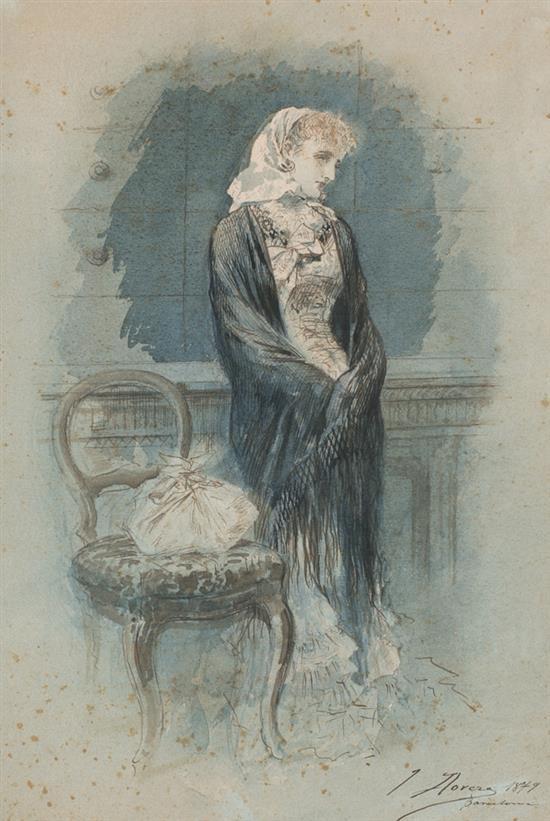 José Llovera Bofill Reus 1846 - 1896 Una joven Acuarela y tinta sobre papel