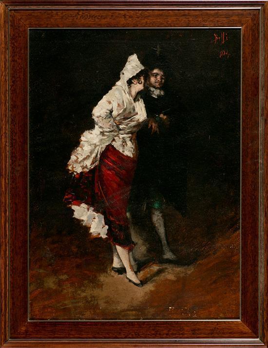 Benito Belli Activo en Barcelona durante la segunda mitad del siglo XIX Una pareja Óleo sobre lienzo