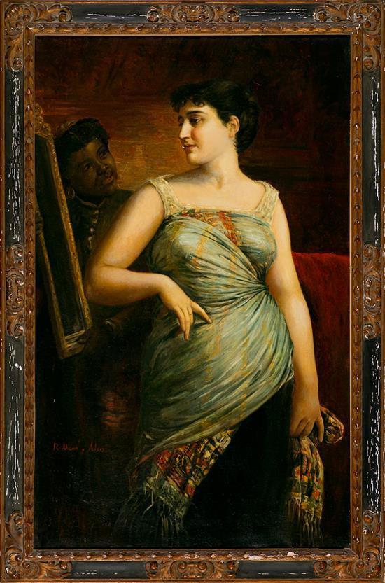 Ramon Martí Alsina Barcelona 1826 - 1894 Una joven ante el espejo Óleo sobre lienzo