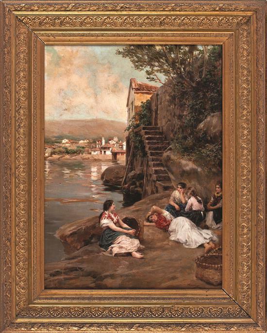Manuel Ramírez Ibáñez Arjona 1856 - Madrid 1925 Jóvenes a las orillas de un río Óleo sobre lienzo