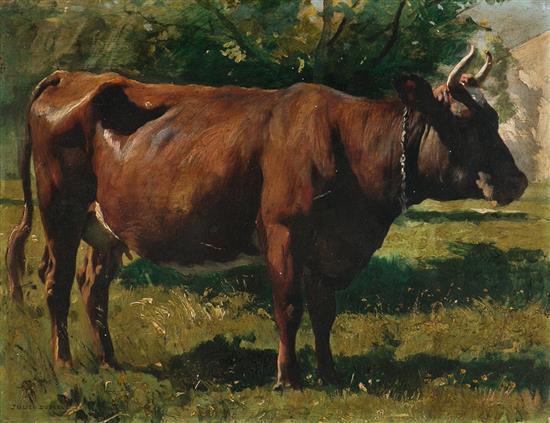 Julien Dupré París 1851 - 1910 Vaca Óleo sobre tabla