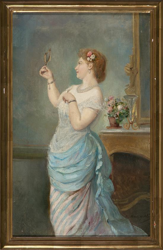 Ramón Martí Alsina Barcelona 1826 - 1894 Young Lady with a Mirror
