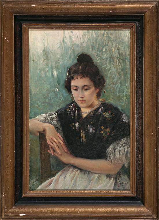 Atribuido a Joaquín Agrasot Orihuela 1836 - Valencia 1919 Valenciana Óleo sobre lienzo