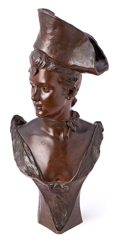 Georges van der Straeten Gante 1856 - 1941 Joven con tricornio Escultura en bronce