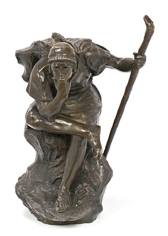 H. D. Contenot Activo en Francia durante el primer tercio del siglo XX Edipo meditando Escultura en bronce