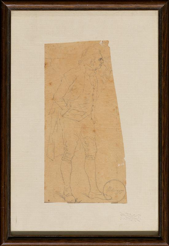 Tomás Moragas Girona 1837 - Barcelona 1906 Caballero dieciochesco Dibujo a lápiz sobre papel