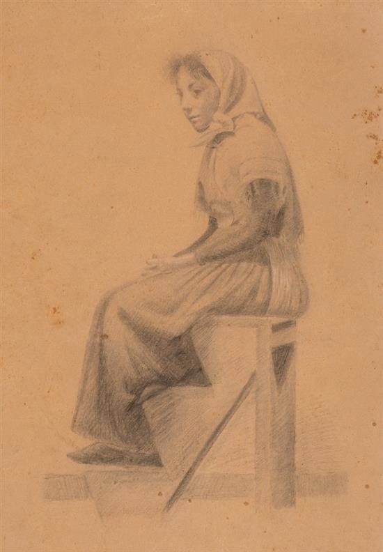 Atribuidos a Josep Berga Boada Olot 1872 - Sant Feliu de Guíxols 1923 Unas jóvenes Dos carboncillos sobre papel