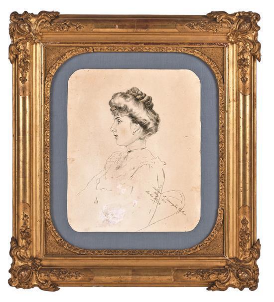 Atribuido a Leslie Ward Londres 1851 - Marylebone 1922 Retrato de la reina consorte Victoria Eugenia de Battenberg Dibujo al carbonc...