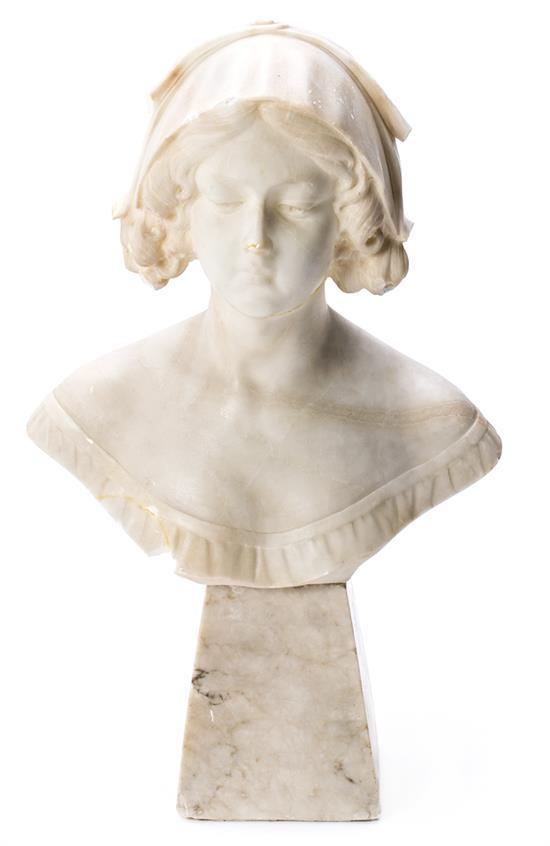 Escuela italiana, hacia 1900 Busto de una joven Escultura en alabastro