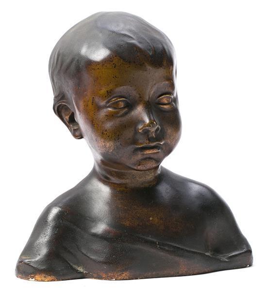 Taller de Esteva y Cia. Primer tercio del siglo XX Busto infantil Escultura en estuco con pátina