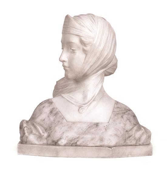 Escuela italiana de principios del siglo XX Una joven Escultura en mármol y alabastro