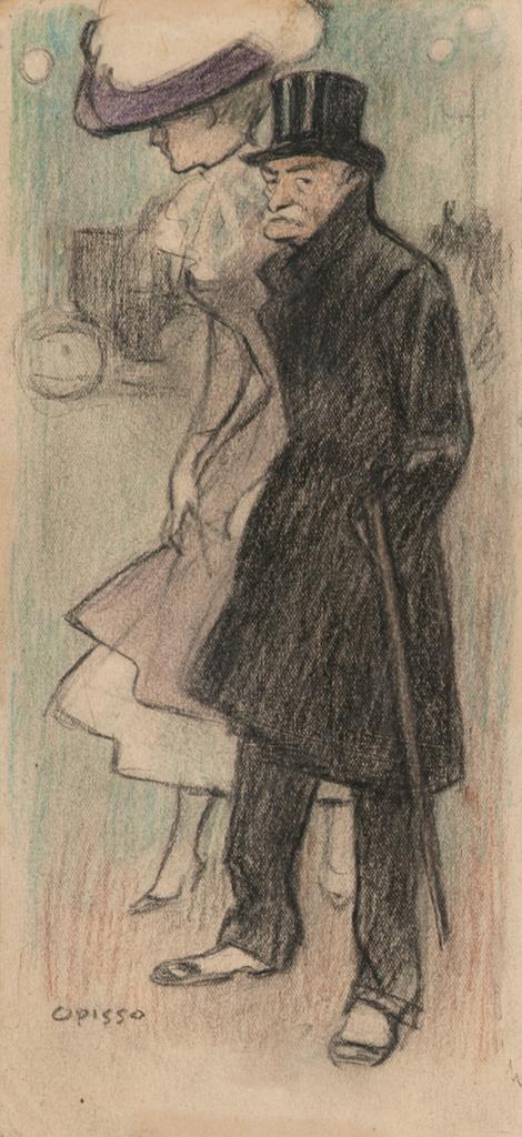 Ricard Opisso Tarragona 1880 - Barcelona 1966. Pareja Dibujo al carboncillo y pastel sobre papel