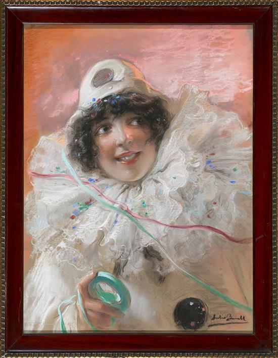 Julio Borrell Pla Barcelona 1877 - 1957 Una joven con disfraz de arlequín Pastel sobre papel