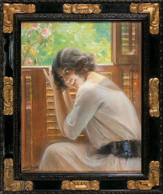 Julio Borrell Pla Barcelona 1877 - 1957 Una joven frente a la ventana Pastel sobre papel