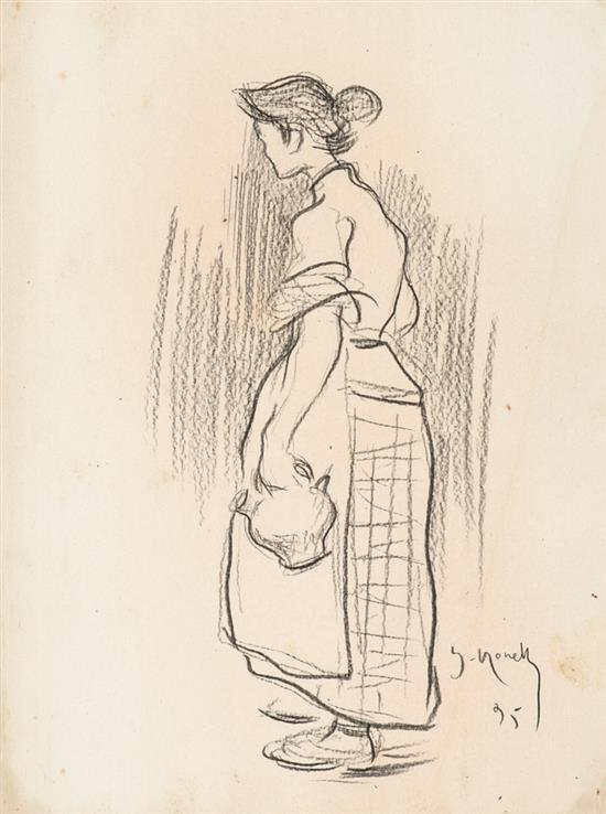 Isidre Nonell Barcelona 1873 - 1911 Una joven Dibujo al carboncillo sobre papel