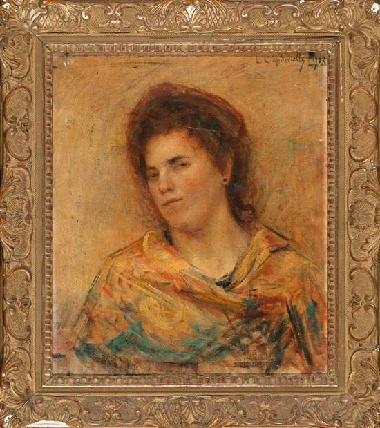 Louis Capdevieille Lourdes 1849 - 1905 Retrato de una joven Óleo sobre lienzo