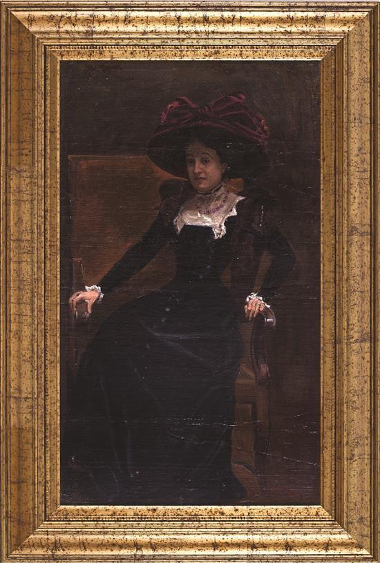Escuela española de finales del siglo XIX Una joven con sombrero Óleo sobre lienzo pegado a tabla
