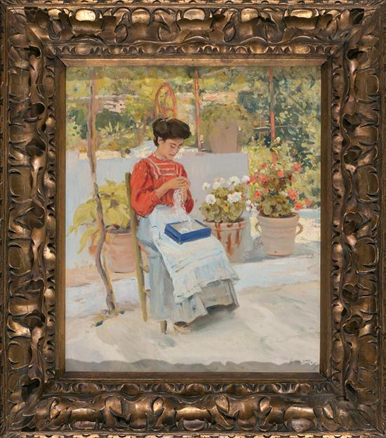 Segundo Matilla Madrid 1862 - Teià 1937 Young Lady sewing on a Terrace