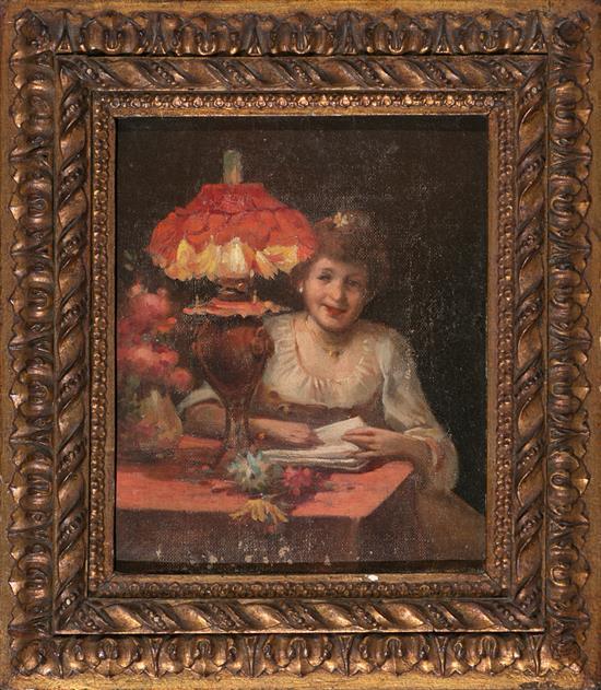 Escuela catalana, hacia 1900 Una joven junto a una lámpara Óleo sobre lienzo