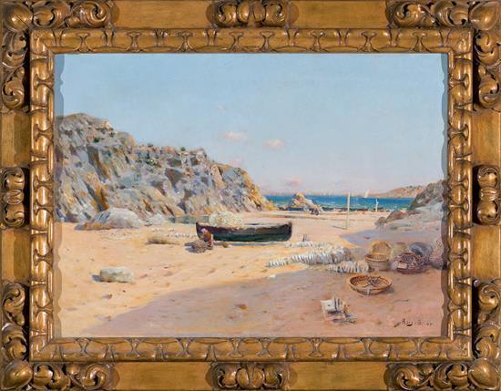 Joan Roig Soler Barcelona 1852 - 1909 Una playa Óleo sobre lienzo