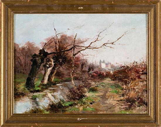 Atribuido a Manuel Ramos Artal Madrid 1855 - hacia 1916 Vista del castillo de Pau Óleo sobre lienzo
