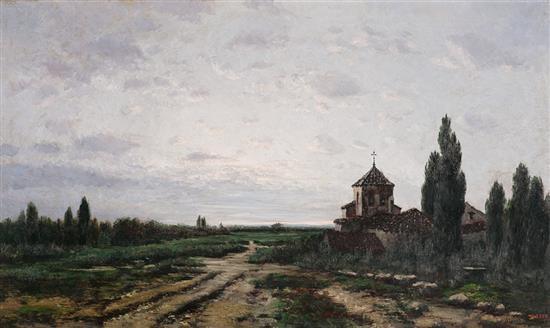 Escuela española, hacia 1900 Vista rural Óleo sobre lienzo