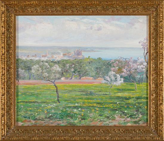 Joan Fuster Bonnin Palma de Mallorca 1870 - 1943 Vista de Palma de Mallorca con almendros en flor Óleo sobre lienzo