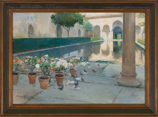 Arcadi Mas i Fondevila Barcelona 1852 - Sitges 1934 Patio de los Arrayanes de La Alhambra Óleo sobre lienzo