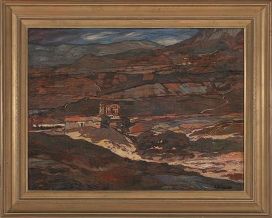 Atribuido a Ignacio Zuloaga Eibar 1870 - Madrid 1945 Paisaje castellano Óleo sobre lienzo