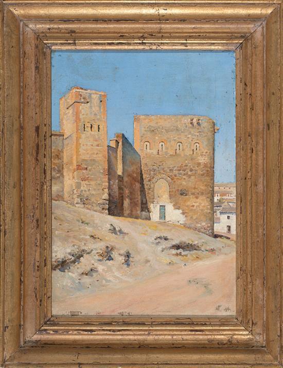 Escuela española de finales del siglo XIX o principios del XX Muralla de Toledo (Barrio del Arrabal) Óleo sobre lienzo