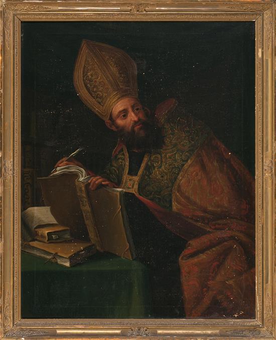Escuela española del siglo XIX San Agustín Óleo sobre lienzo