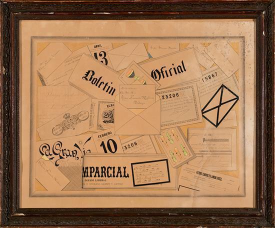 Atribuido a Antonio Navarrete Martínez Activo en Badajoz en 1897 Mesa revuelta Dibujo a tinta, lápiz y acuarela sobre papel