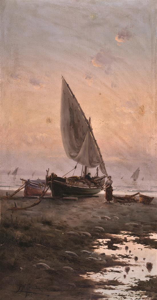 Pere Navarro Escuder Barcelona, activo en el último tercio del siglo XIX y principios del siglo XX Marina Óleo sobre lienzo
