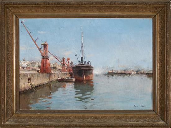 Joan Roig Soler Barcelona 1852 - 1909 View of the Port of Barcelona
